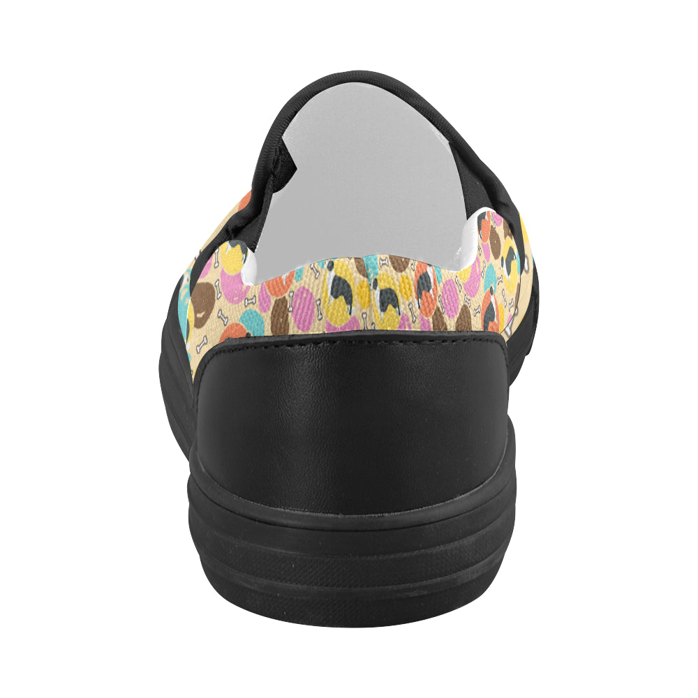 Border Collie Pattern Black Women's Slip-on Canvas Shoes - TeeAmazing