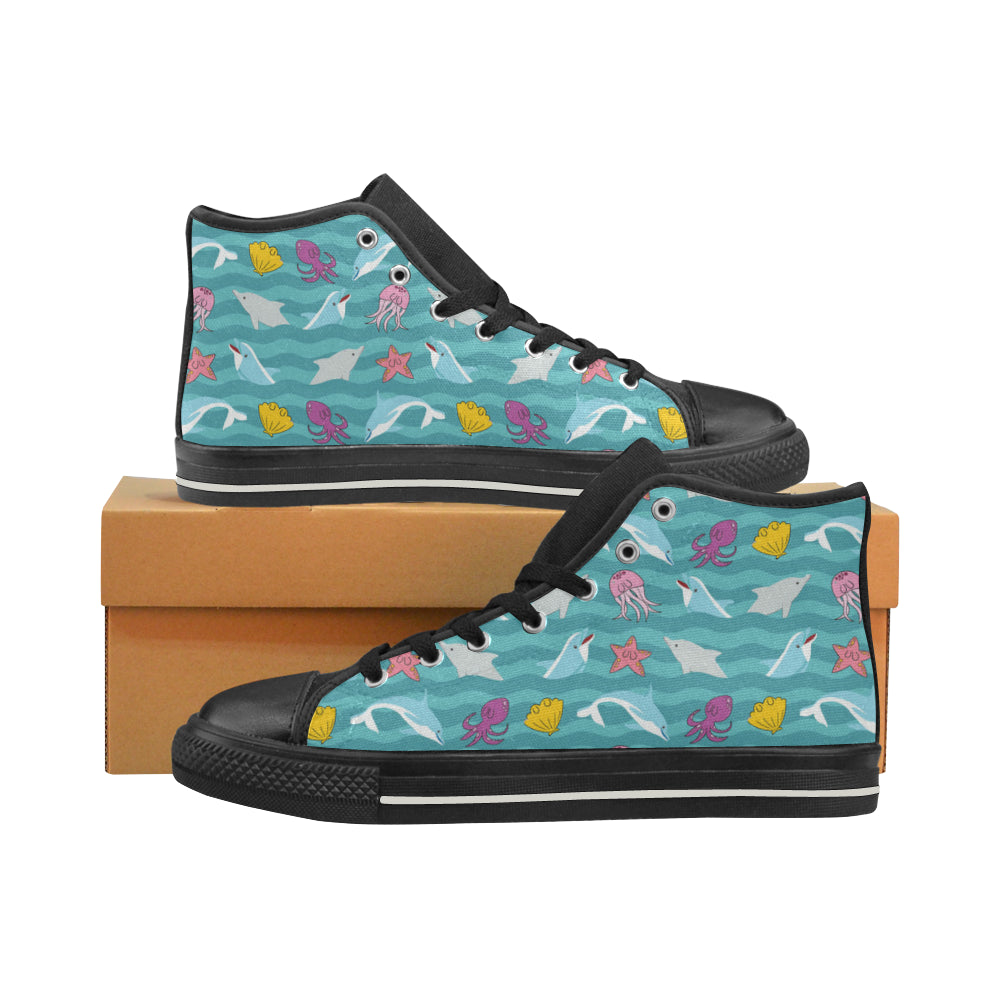 Dolphin Black Men's Classic High Top Canvas Shoes - TeeAmazing