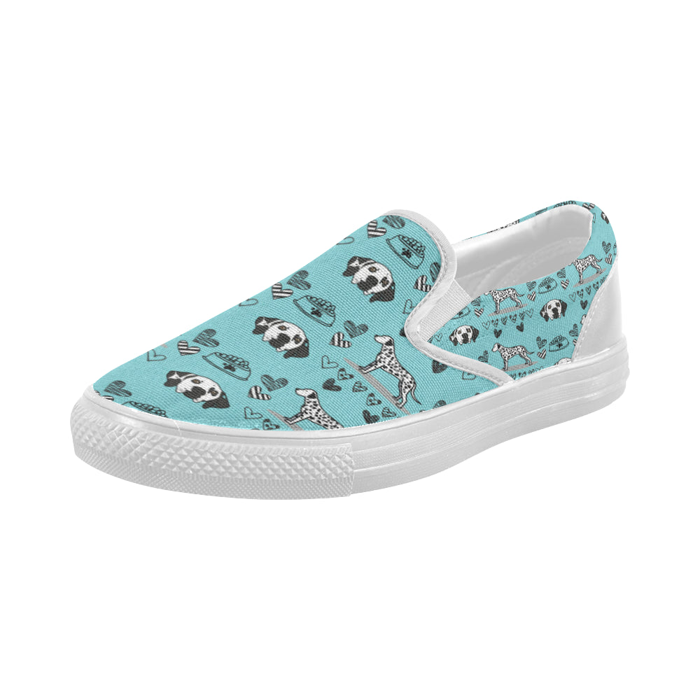 Dalmatian Pattern White Women's Slip-on Canvas Shoes (Model 019) - TeeAmazing