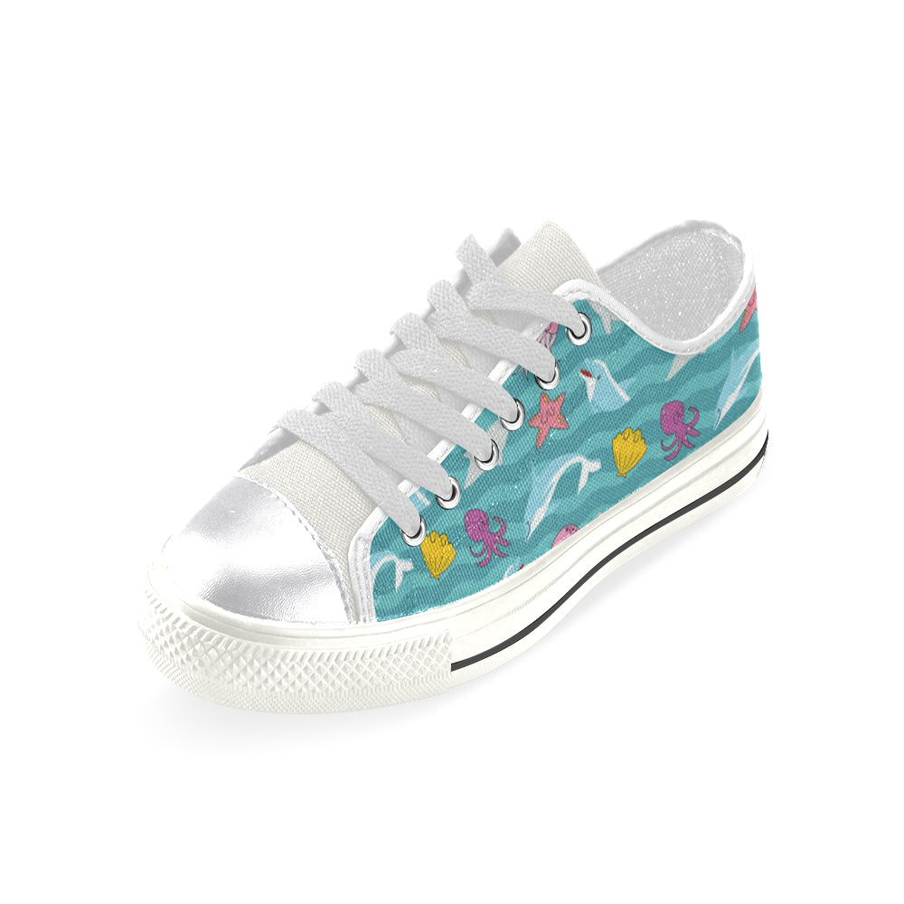 Dolphin White Women's Classic Canvas Shoes - TeeAmazing