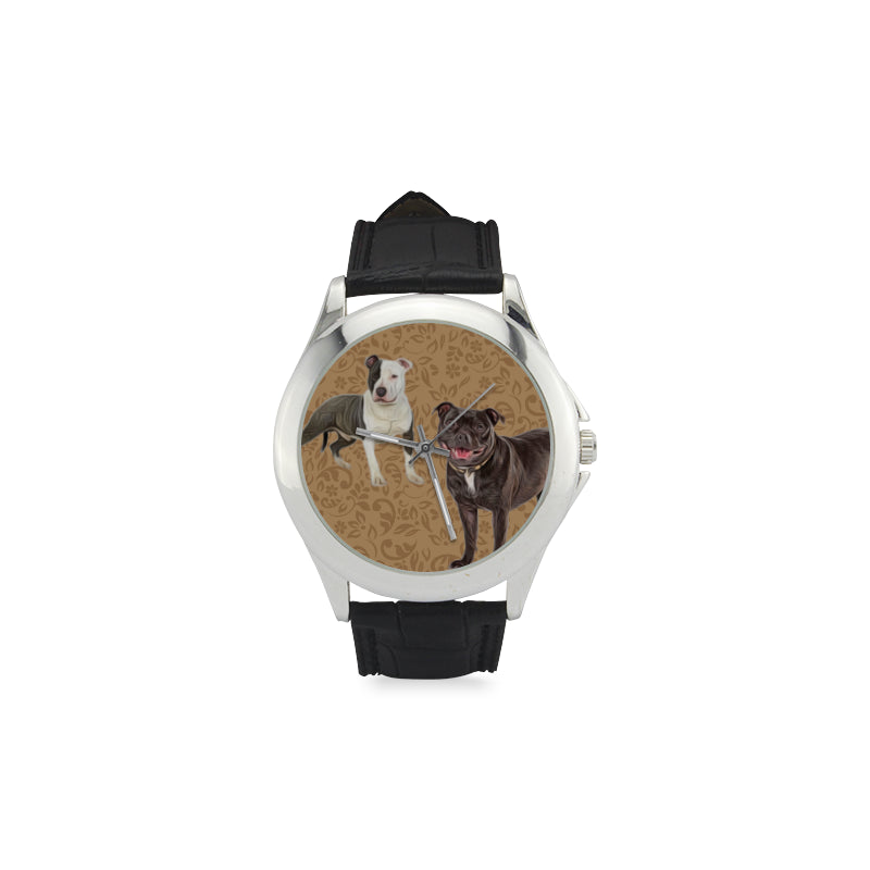 Staffordshire Bull Terrier Lover Women's Classic Leather Strap Watch - TeeAmazing
