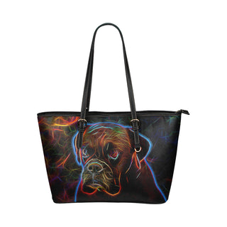 Boxer Glow Design 3 Leather Tote Bag/Small - TeeAmazing