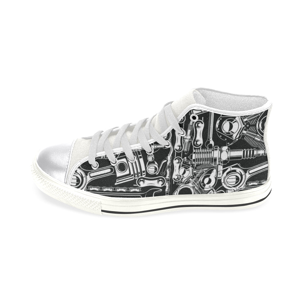 Biker Engine White Women's Classic High Top Canvas Shoes - TeeAmazing