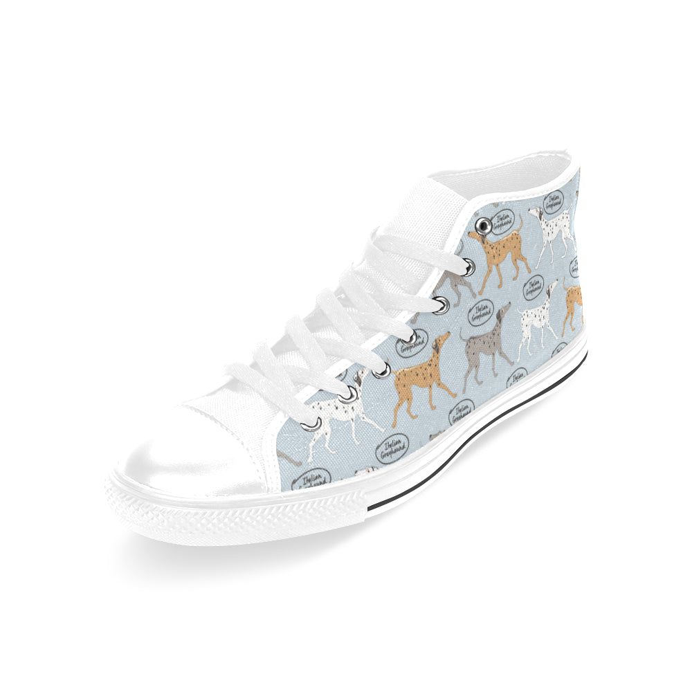 Italian Greyhound Pattern White Men's Classic High Top Canvas Shoes /Large Size - TeeAmazing