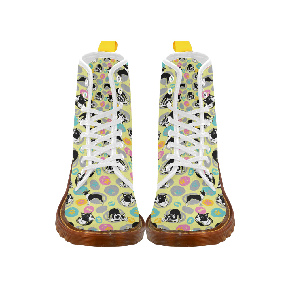 Boston Terrier Pattern White Boots For Women - TeeAmazing