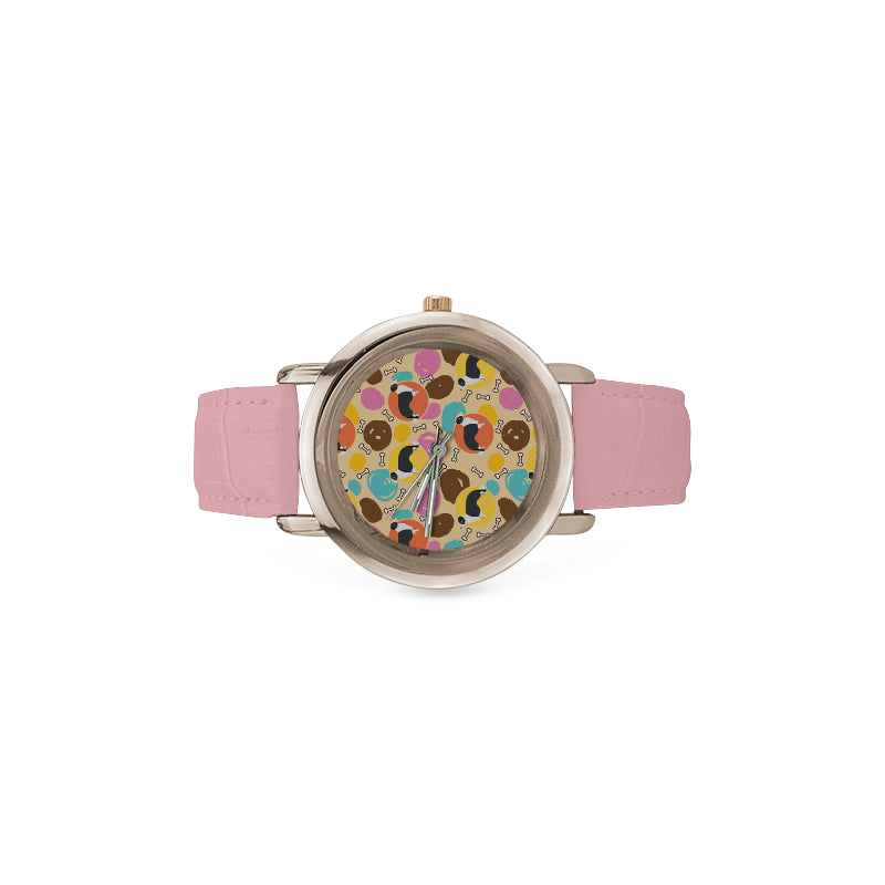 Border Collie Pattern Women's Rose Gold Leather Strap Watch - TeeAmazing