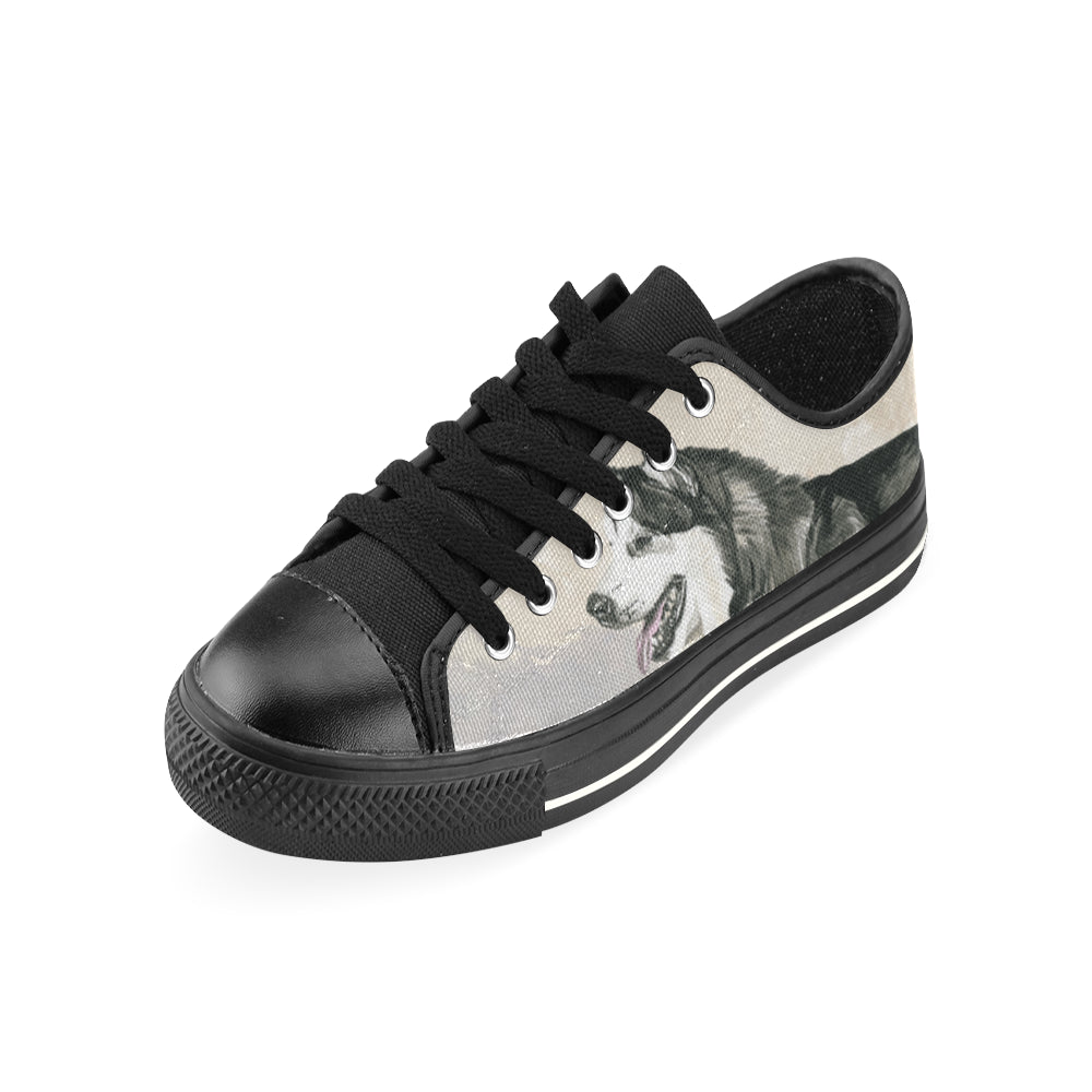 Alaskan Malamute Water Colour Black Low Top Canvas Shoes for Kid (Model 018) - TeeAmazing