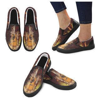 Guitar Lover Black Women's Slip-on Canvas Shoes