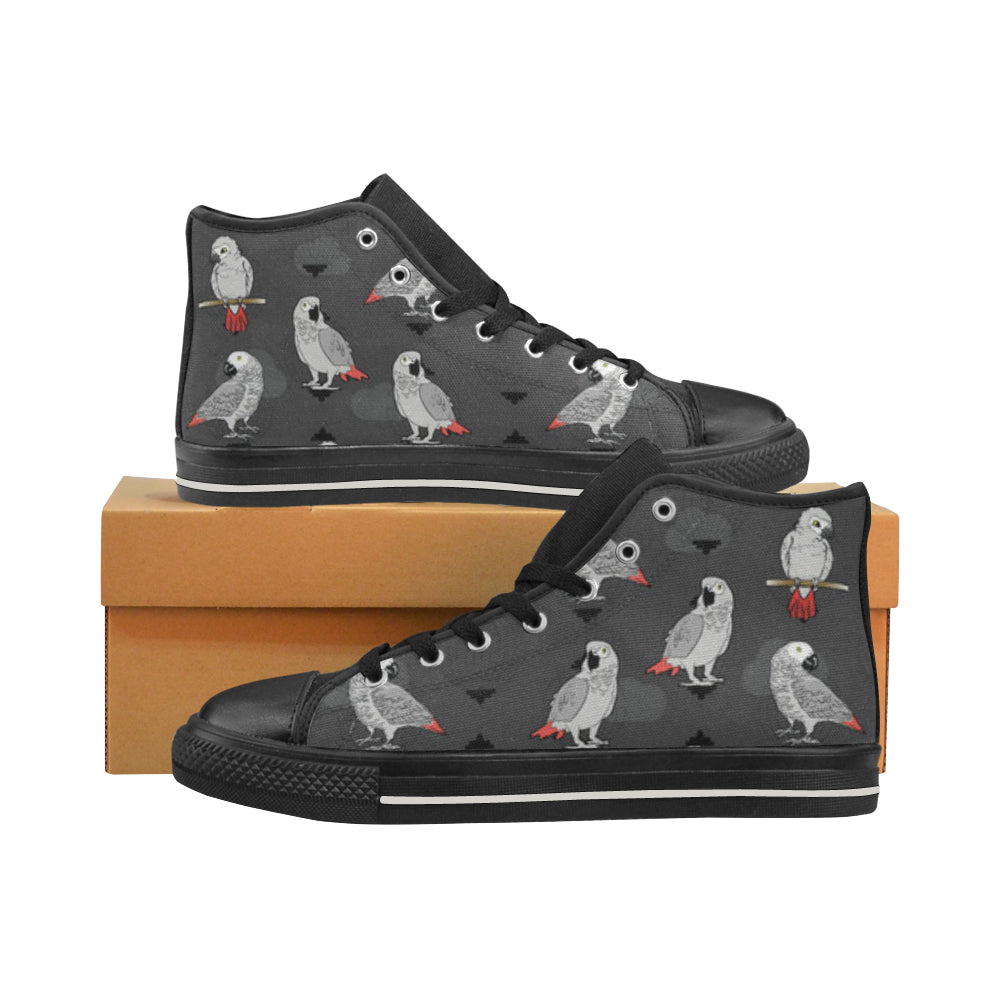 African Greys Black Women's Classic High Top Canvas Shoes - TeeAmazing
