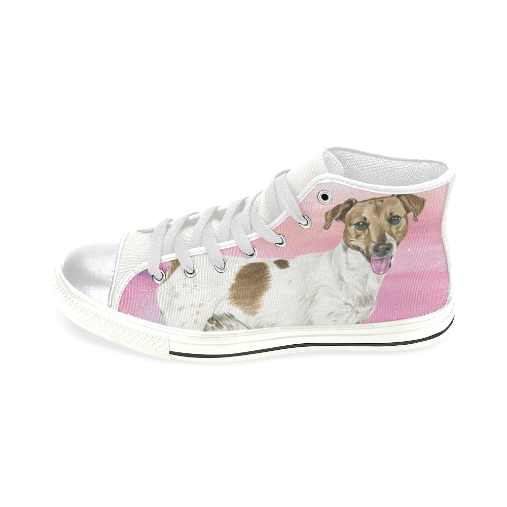 Jack Russell Terrier Water Colour No.1 White High Top Canvas Shoes for Kid - TeeAmazing