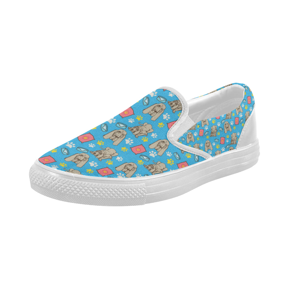 Bloodhound Pattern White Women's Slip-on Canvas Shoes - TeeAmazing