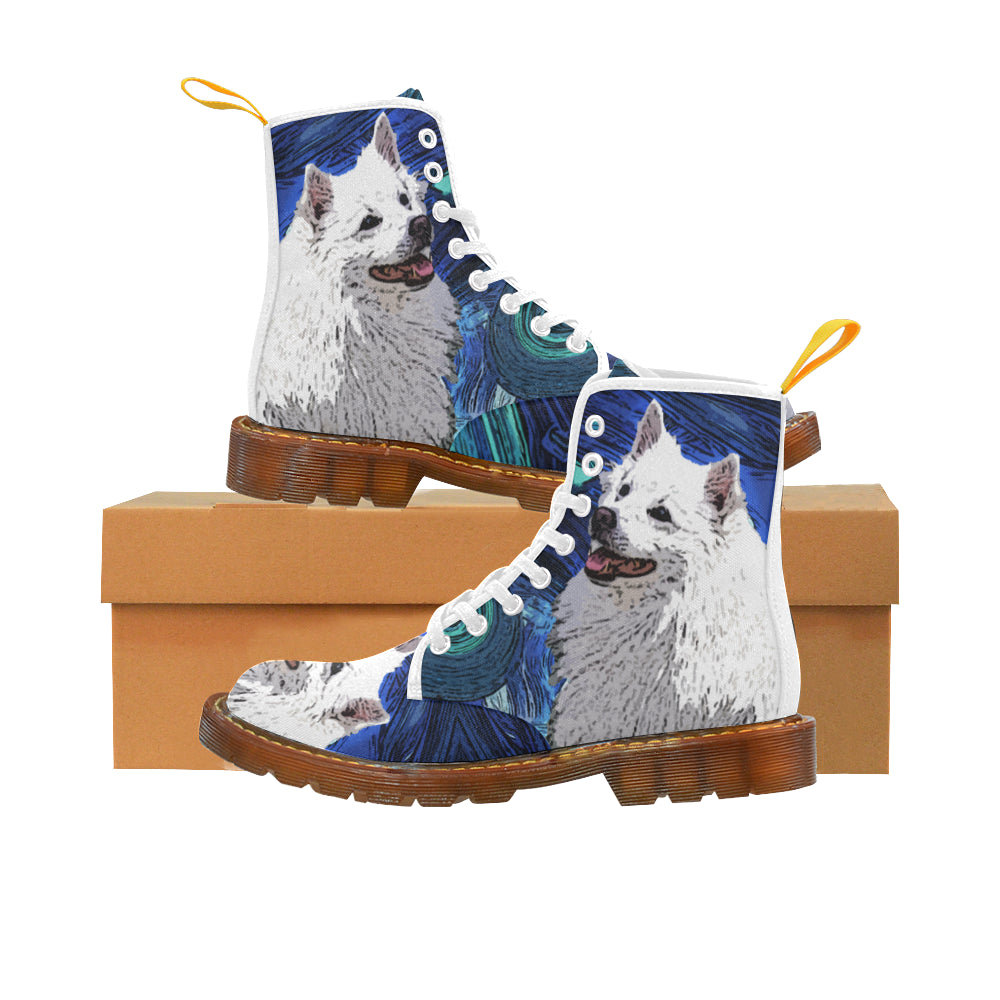 American Eskimo Dog White Boots For Men - TeeAmazing