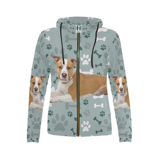 American Staffordshire Terrier All Over Print Full Zip Hoodie for Women - TeeAmazing