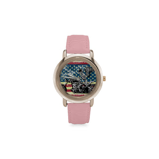 Skeleton Biker Women's Rose Gold Leather Strap Watch - TeeAmazing
