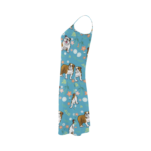 English Bulldog Flower Alcestis Slip Dress - TeeAmazing