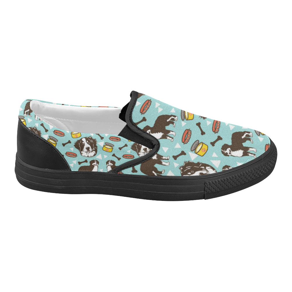 Bernese Mountain Pattern Black Women's Slip-on Canvas Shoes - TeeAmazing