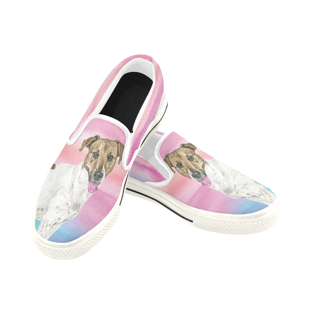 0cccc36e9b6 ... Jack Russell Terrier Water Colour No.1 White Women s Slip-on Canvas  Shoes  ...