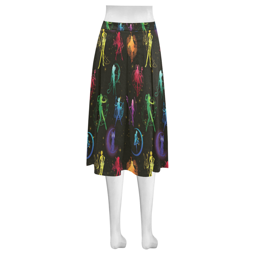 All Sailor Soldiers Mnemosyne Women's Crepe Skirt (Model D16) - TeeAmazing