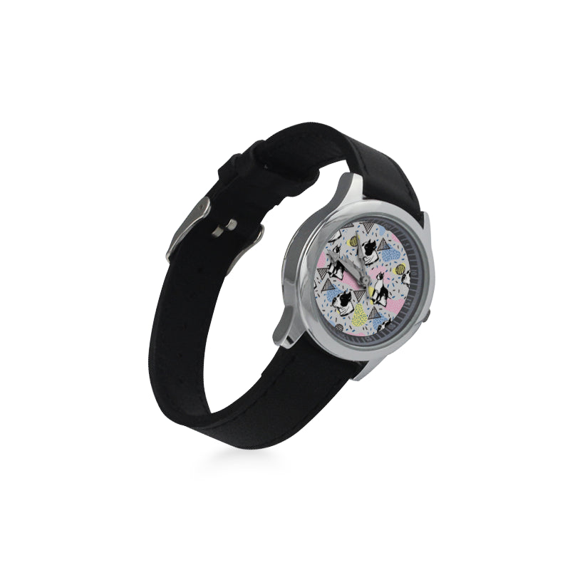 American Staffordshire Terrier Pattern Kid's Stainless Steel Leather Strap Watch - TeeAmazing