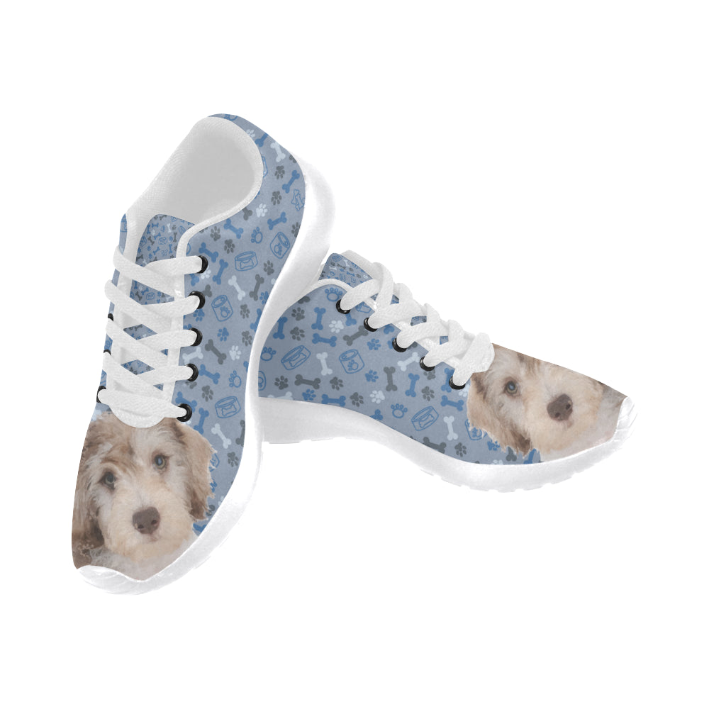 Schnoodle Dog White Sneakers Size 13-15 for Men - TeeAmazing