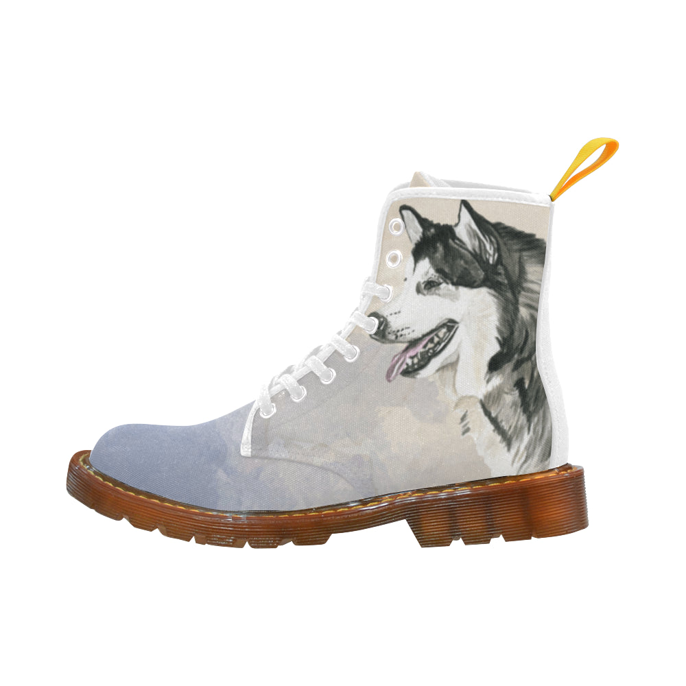 Alaskan Malamute Water Colour White Martin Boots For Women Model 1203H - TeeAmazing