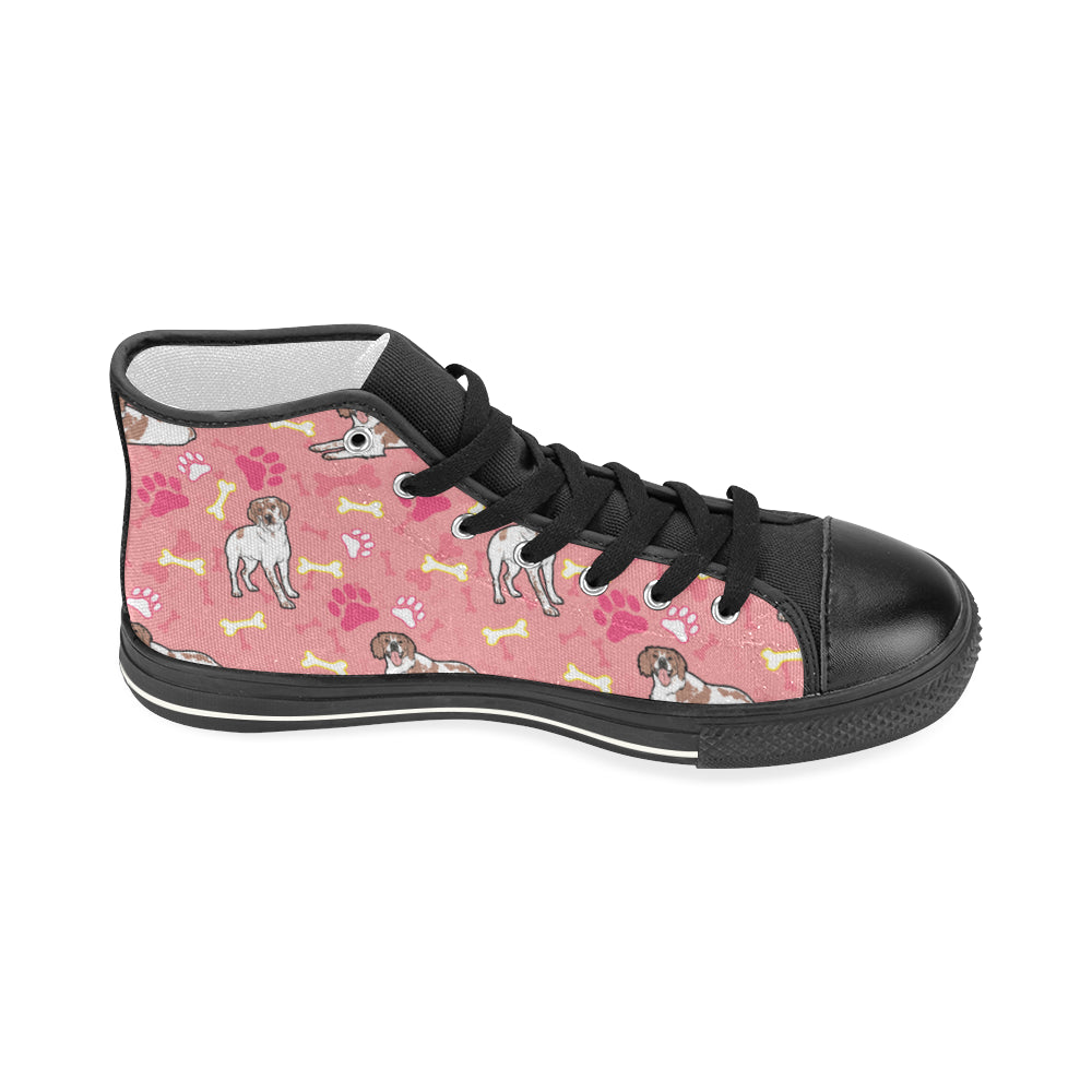 Brittany Spaniel Pattern Black Women's Classic High Top Canvas Shoes - TeeAmazing