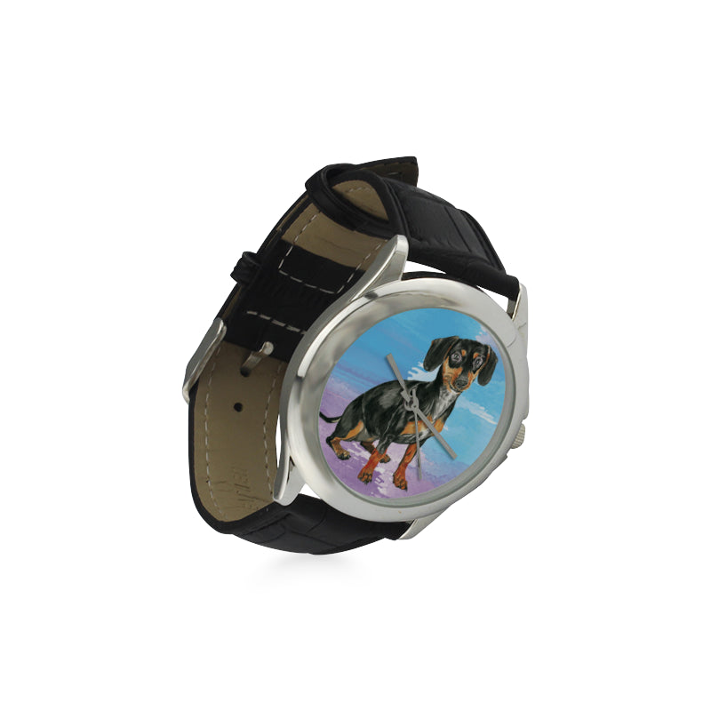 Dachshund Water Colour No.1 Women's Classic Leather Strap Watch - TeeAmazing