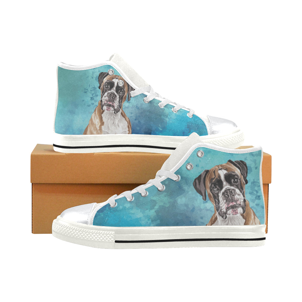 Boxer Water Colour White High Top Canvas Women's Shoes/Large Size - TeeAmazing