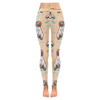 Brittany Spaniel Flower Low Rise Leggings (Invisible Stitch) (Model L05) - TeeAmazing