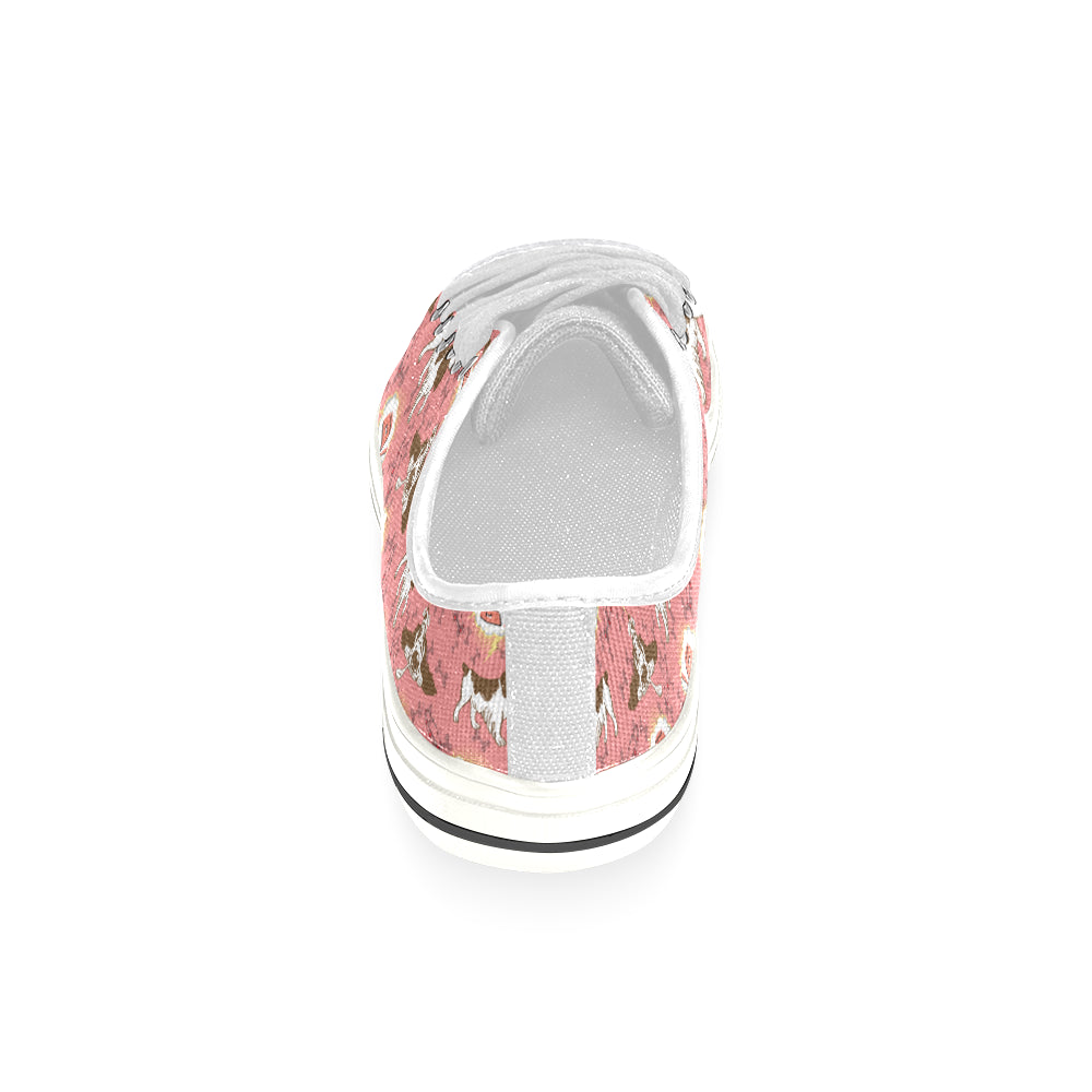 English Cocker Spaniel Pattern White Women's Classic Canvas Shoes - TeeAmazing