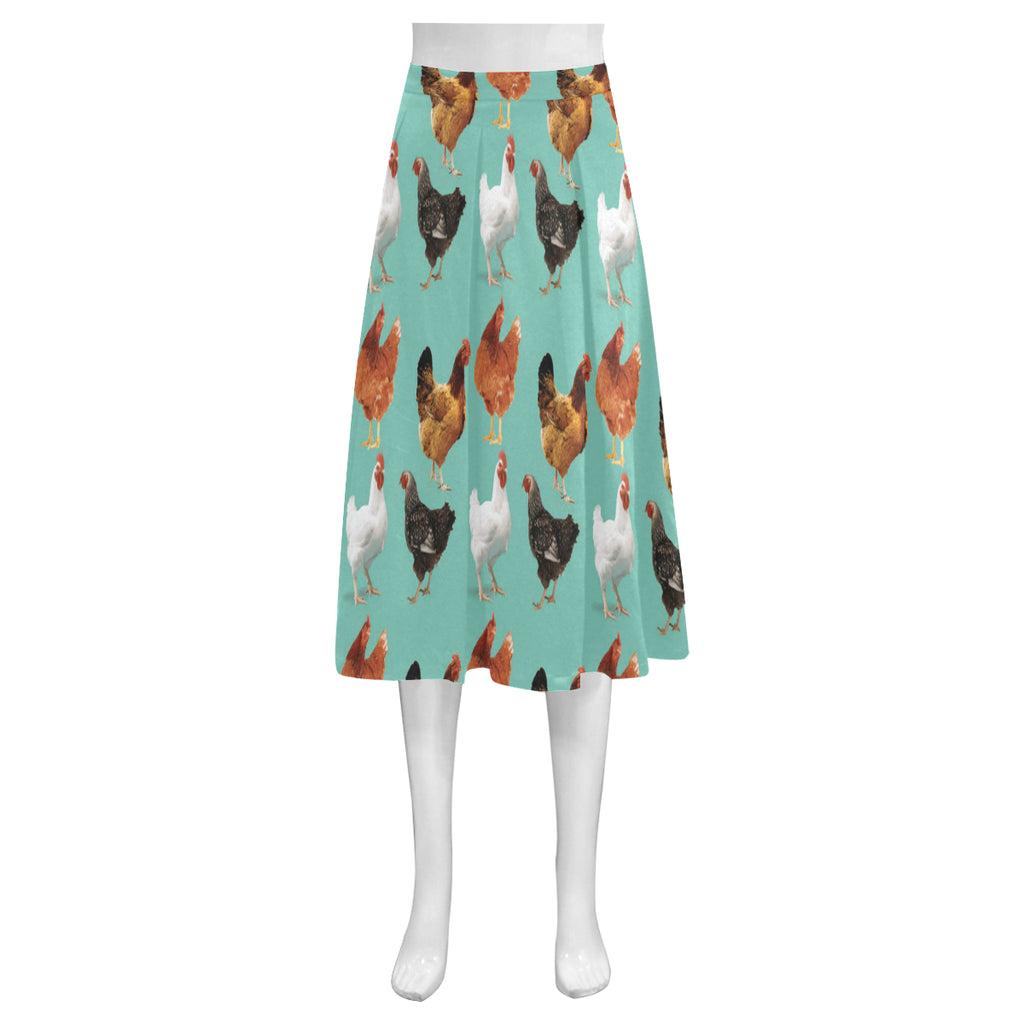 Chicken Pattern Mnemosyne Women's Crepe Skirt - TeeAmazing