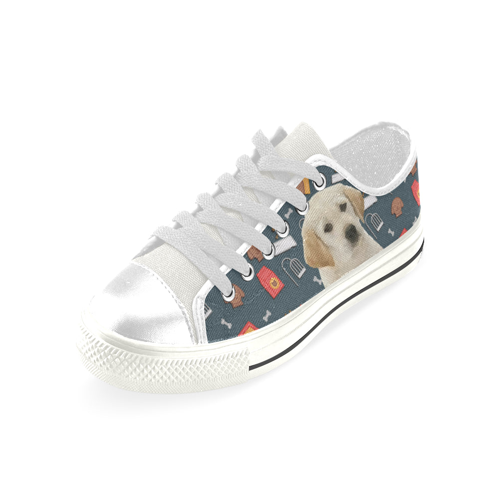Goldador Dog White Low Top Canvas Shoes for Kid - TeeAmazing