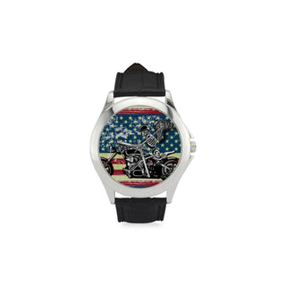 Skeleton Biker Women's Classic Leather Strap Watch - TeeAmazing
