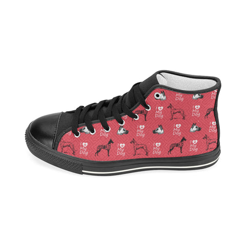 Great Dane Pattern Black Women's Classic High Top Canvas Shoes - TeeAmazing