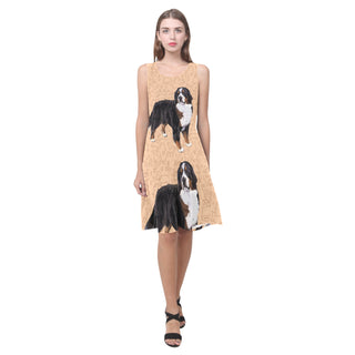 Bernese Mountain Sleeveless Splicing Shift Dress - TeeAmazing