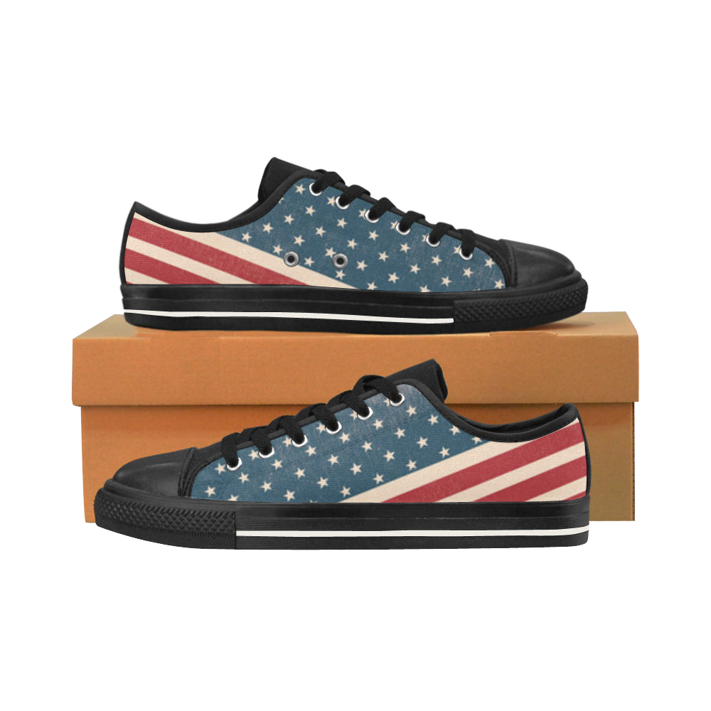4th July V2 Black Men's Classic Canvas Shoes/Large Size - TeeAmazing