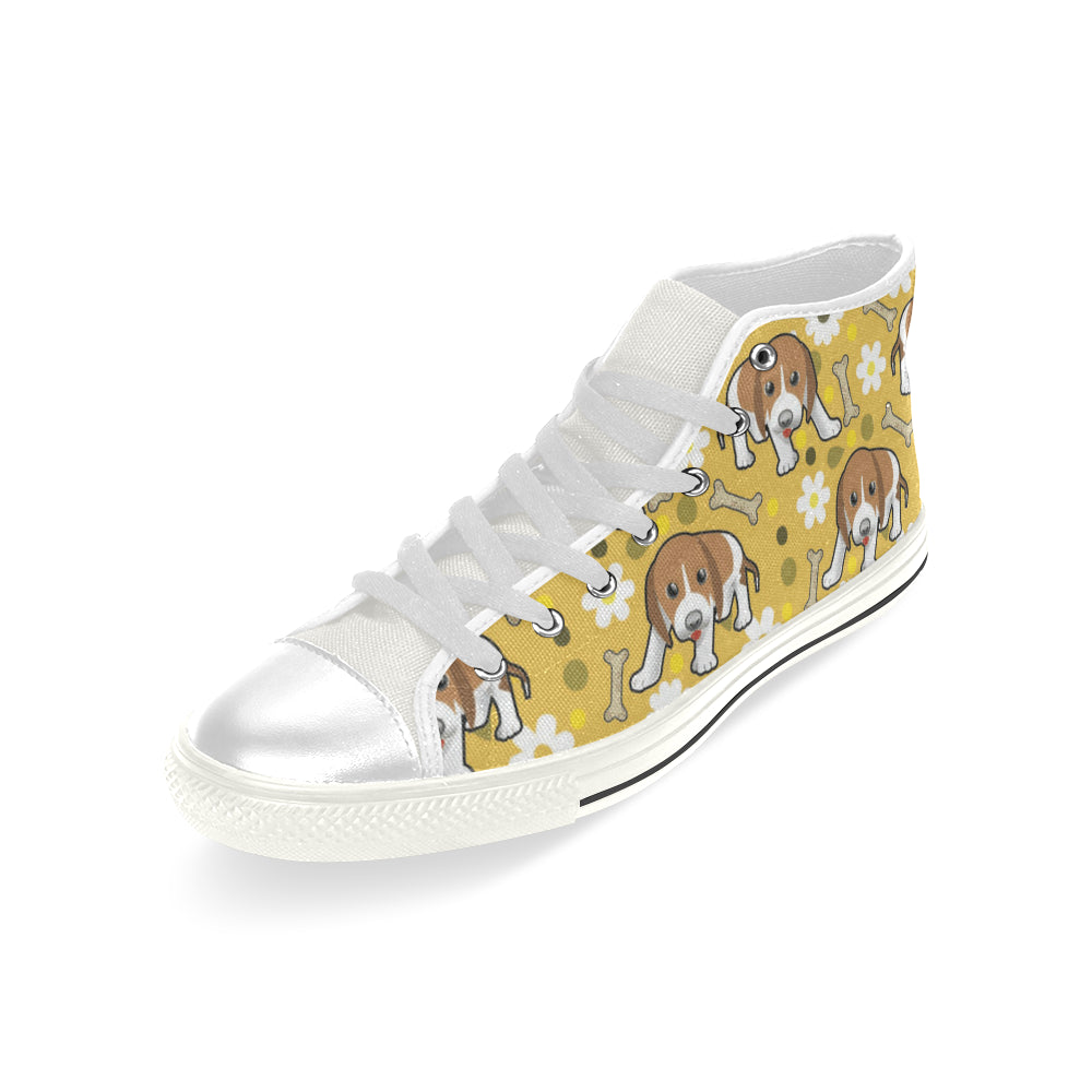 Beagle White Men's Classic High Top Canvas Shoes - TeeAmazing