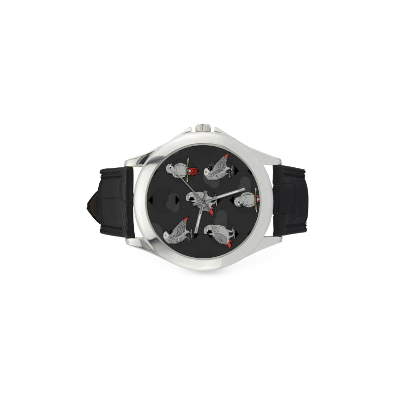 African Greys Women's Classic Leather Strap Watch - TeeAmazing