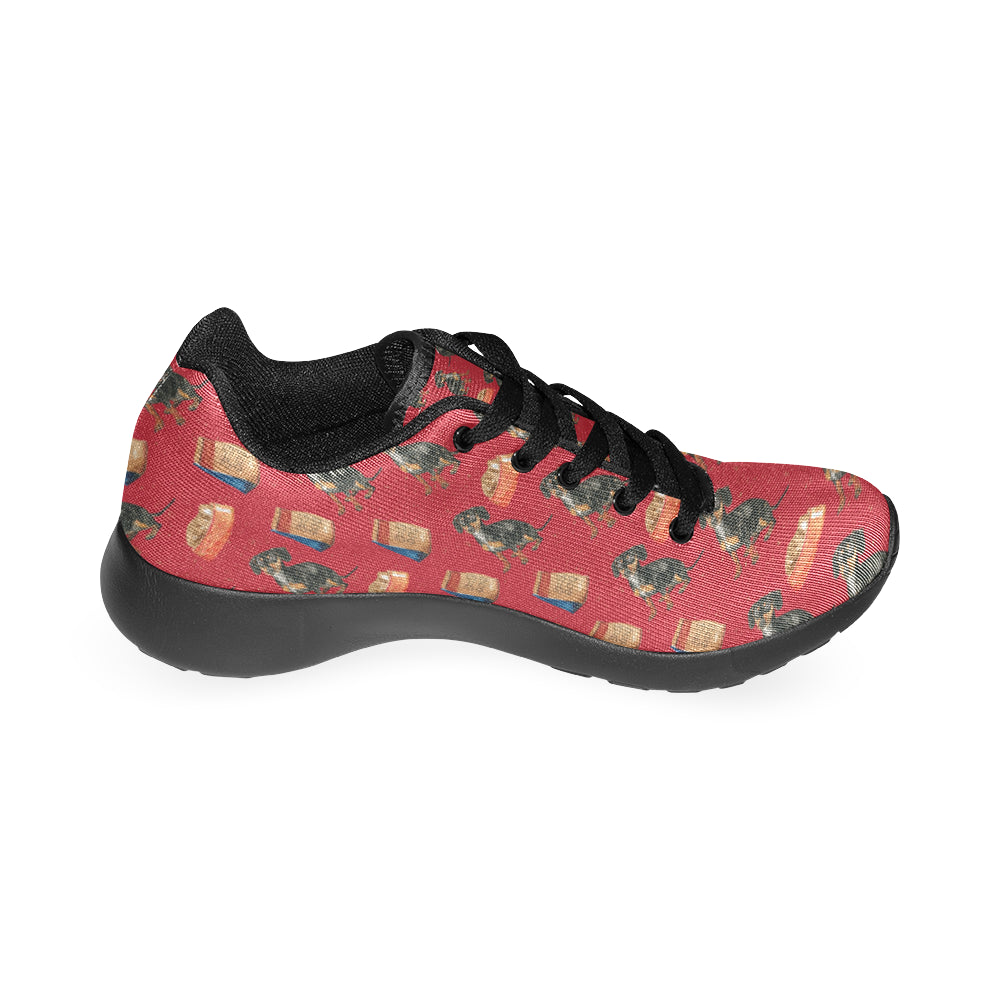 Dachshund Water Colour Pattern No.2 Black Sneakers for Women - TeeAmazing