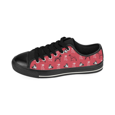 Great Dane Pattern Black Canvas Women's Shoes (Large Size) - TeeAmazing
