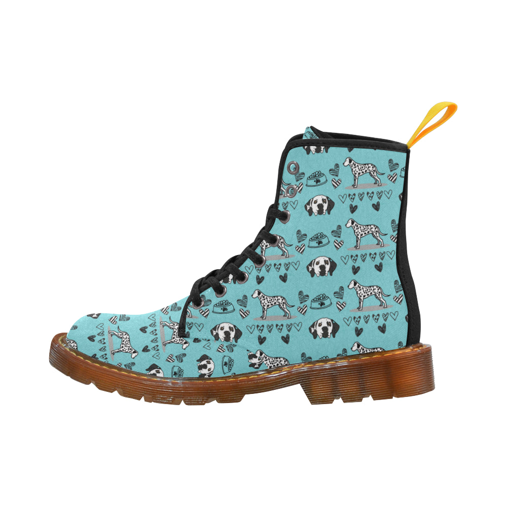 Dalmatian Pattern Black Boots For Men - TeeAmazing