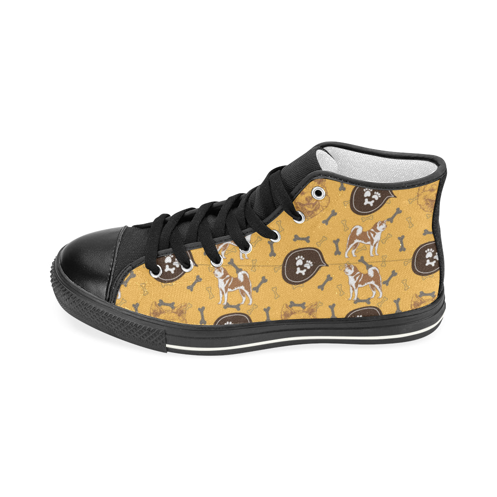 Akita Pattern Black Women's Classic High Top Canvas Shoes - TeeAmazing