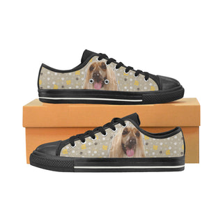 Afghan Hound Black Low Top Canvas Shoes for Kid - TeeAmazing