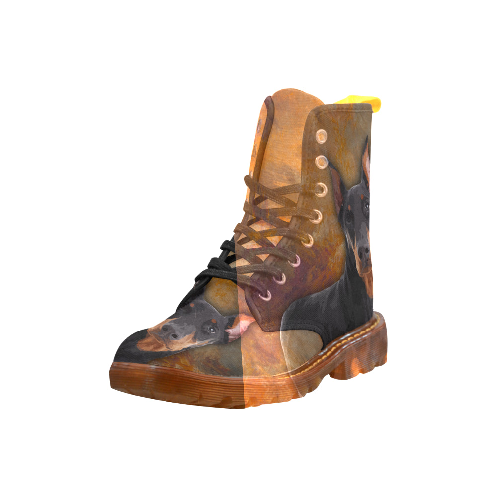 Doberman Pinscher Portrait Black Boots For Men - TeeAmazing