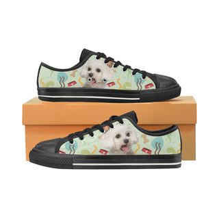 Maltipoo Black Canvas Women's Shoes/Large Size (Model 018) - TeeAmazing