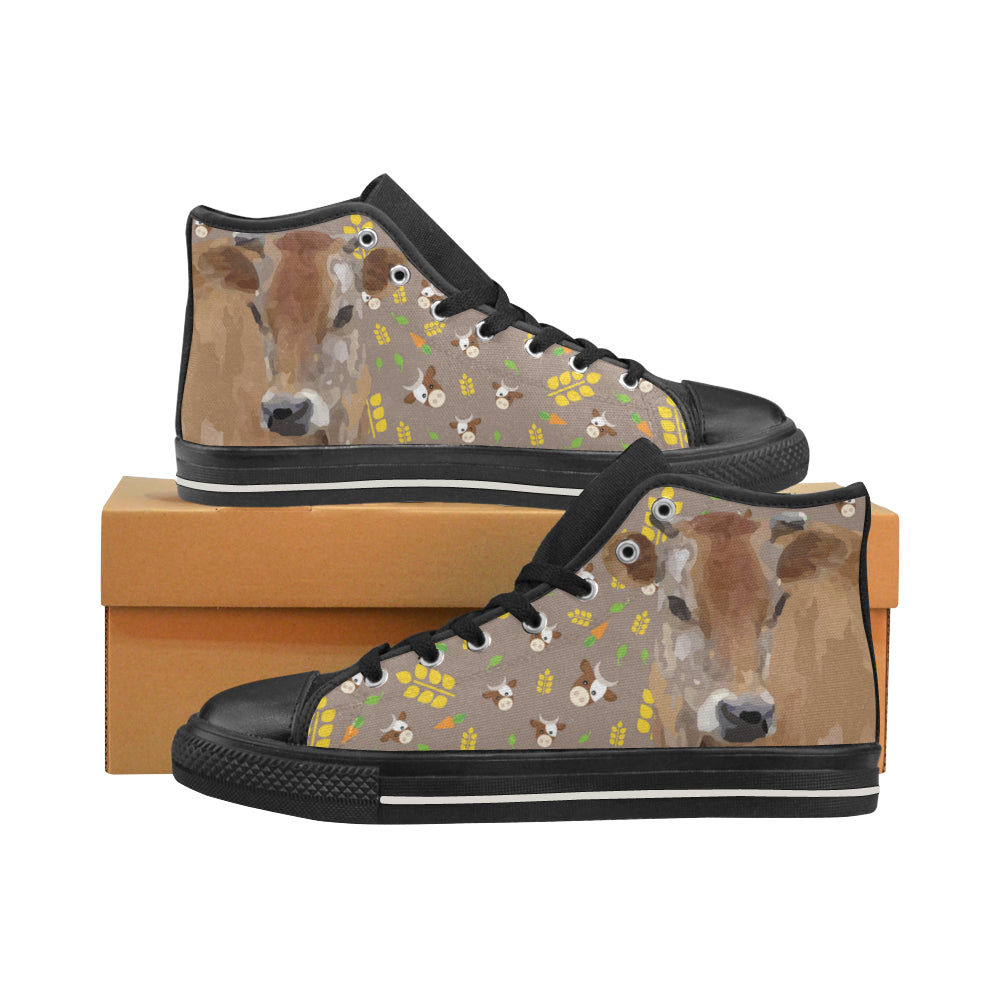 Cow Black High Top Canvas Women's Shoes/Large Size - TeeAmazing
