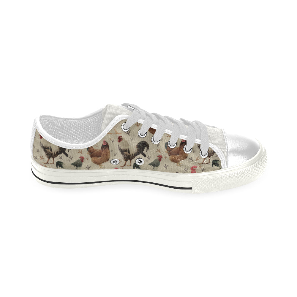 Chicken White Low Top Canvas Shoes for Kid - TeeAmazing
