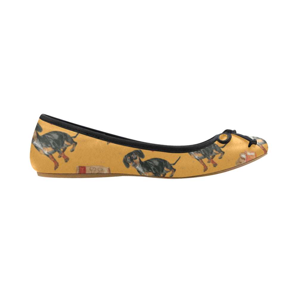Dachshund Water Colour Pattern No.1 Juno Ballet Pumps - TeeAmazing