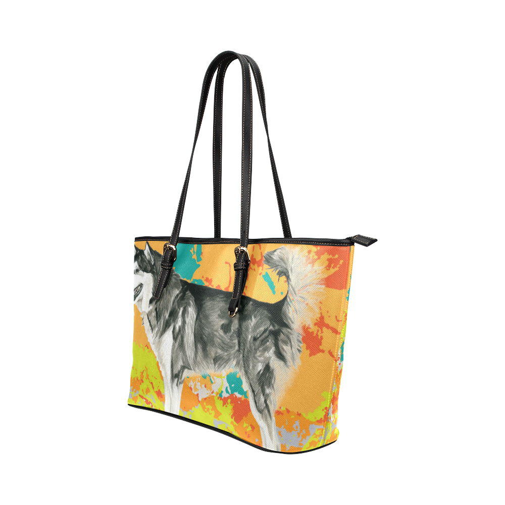 Alaskan Malamute Water Colour No.2 Leather Tote Bag/Small - TeeAmazing