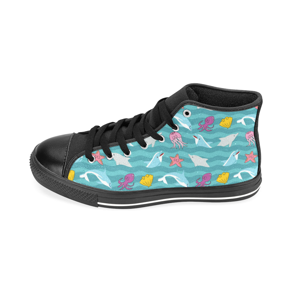 Dolphin Black Men's Classic High Top Canvas Shoes /Large Size - TeeAmazing